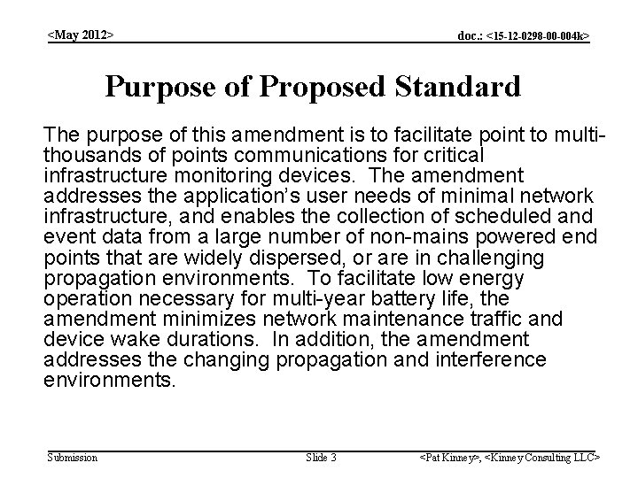 <May 2012> doc. : <15 -12 -0298 -00 -004 k> Purpose of Proposed Standard