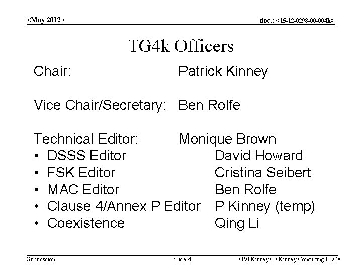 <May 2012> doc. : <15 -12 -0298 -00 -004 k> TG 4 k Officers