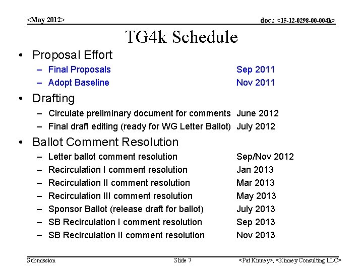 <May 2012> doc. : <15 -12 -0298 -00 -004 k> TG 4 k Schedule
