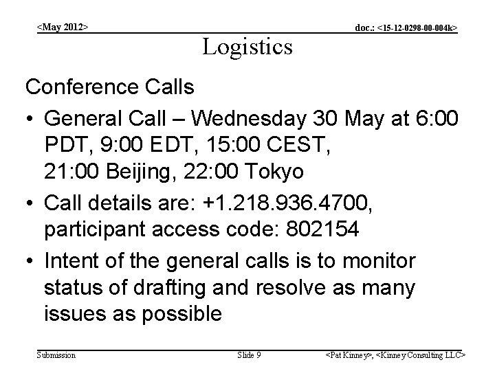 <May 2012> Logistics doc. : <15 -12 -0298 -00 -004 k> Conference Calls •