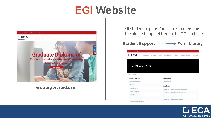 EGI Website All student support forms are located under the student support tab on