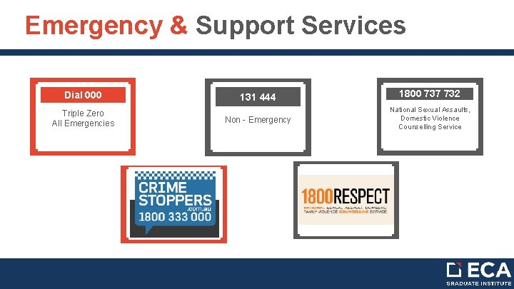 Emergency & Support Services Dial 000 131 444 1800 737 732 Triple Zero All