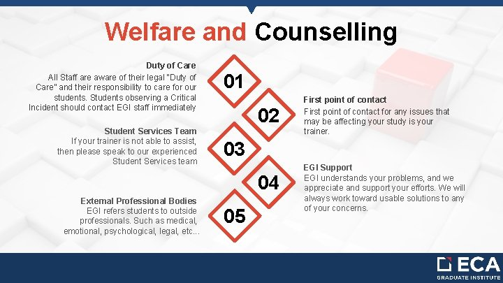 """Welfare and Counselling Duty of Care All Staff are aware of their legal """"Duty"""