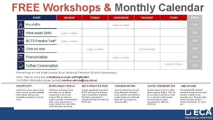 FREE Workshops & Monthly Calendar Work-ready Skills IELTS Practice Test* One-on-one Pronunciation Coffee Conversation