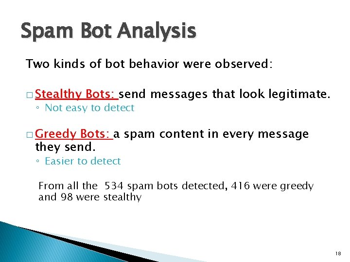 Spam Bot Analysis Two kinds of bot behavior were observed: � Stealthy Bots: send