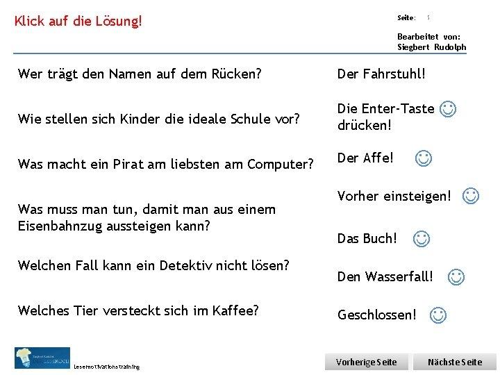 Übungsart: Klick auf die Lösung! Seite: 5 Bearbeitet von: Siegbert Rudolph Wer trägt den