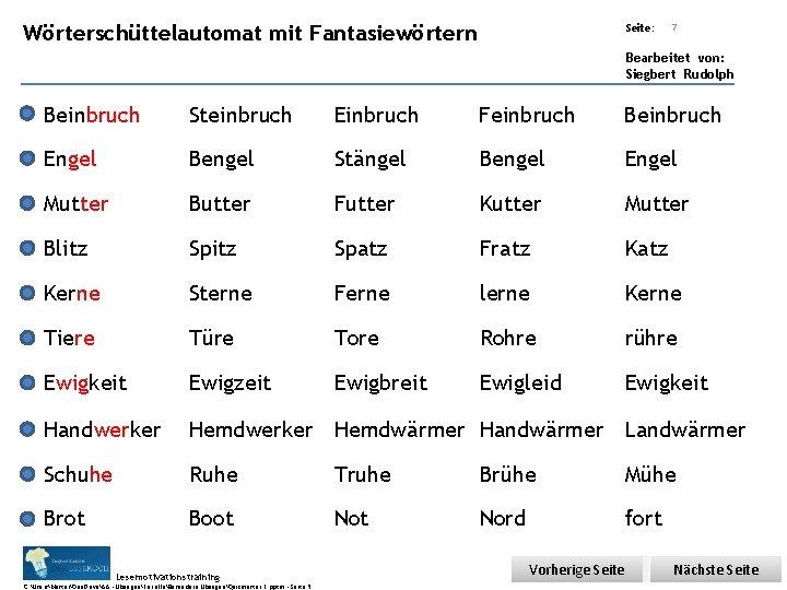Übungsart: Wörterschüttelautomat mit Fantasiewörtern Seite: 7 Bearbeitet von: Siegbert Rudolph Beinbruch Steinbruch Einbruch Feinbruch