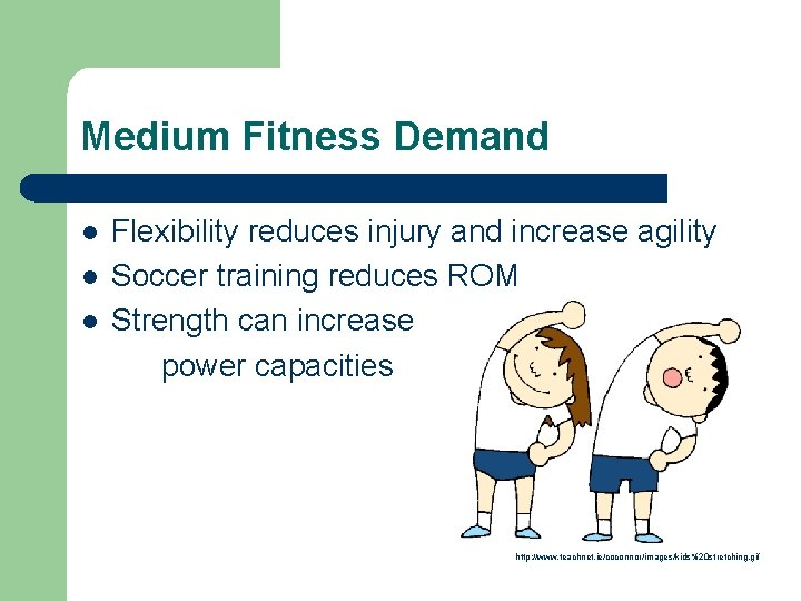 Medium Fitness Demand l l l Flexibility reduces injury and increase agility Soccer training