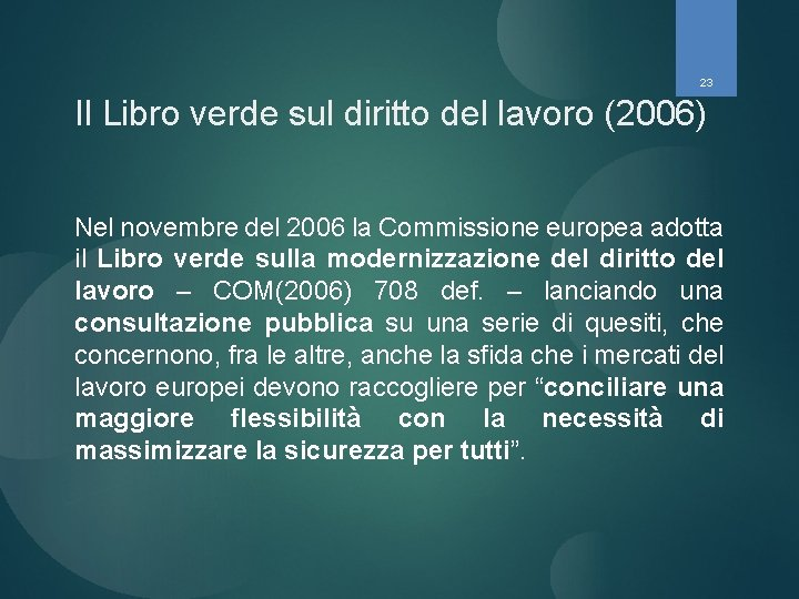 23 Il Libro verde sul diritto del lavoro (2006) Nel novembre del 2006 la