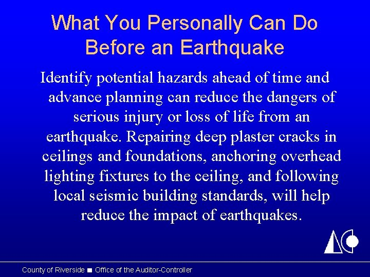 What You Personally Can Do Before an Earthquake Identify potential hazards ahead of time