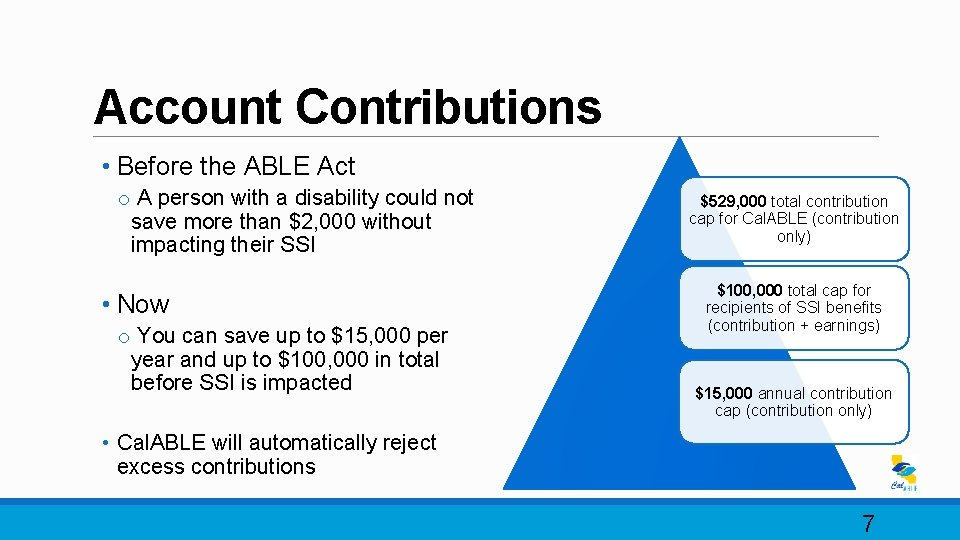 Account Contributions • Before the ABLE Act o A person with a disability could
