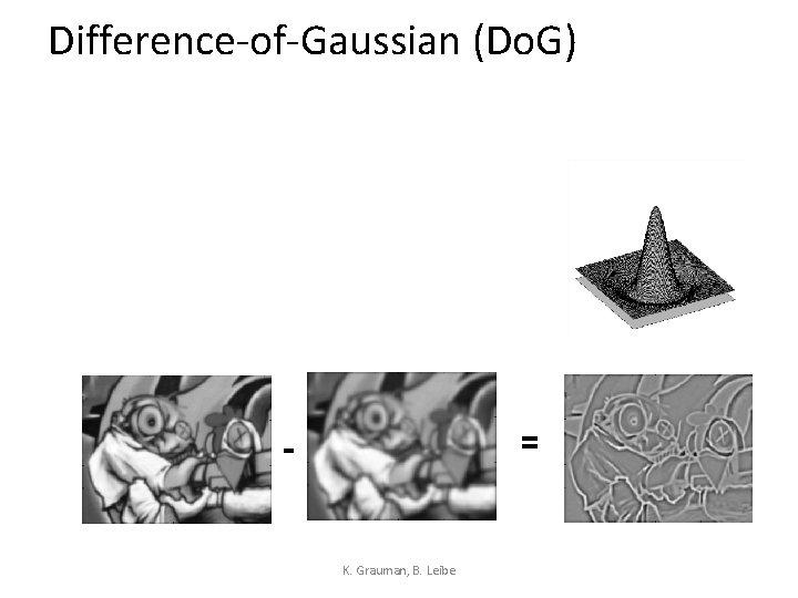 Difference-of-Gaussian (Do. G) = - K. Grauman, B. Leibe