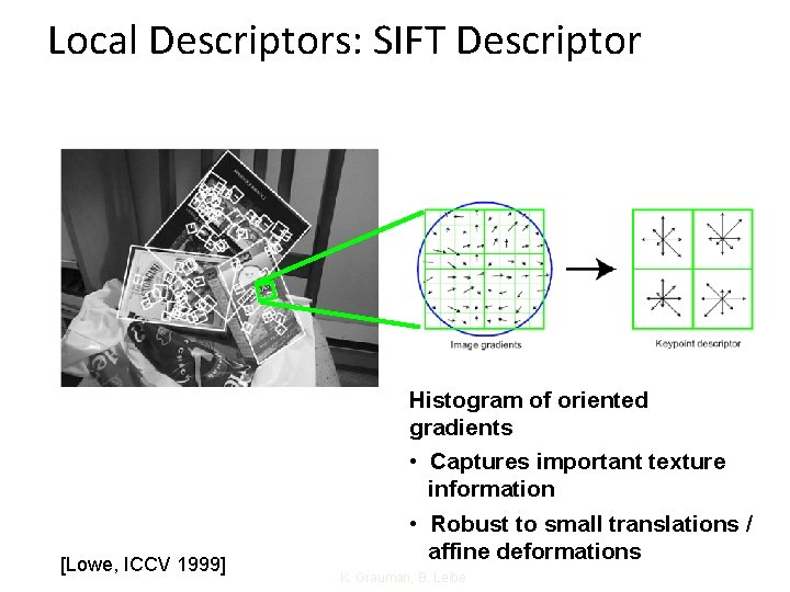 Local Descriptors: SIFT Descriptor [Lowe, ICCV 1999] Histogram of oriented gradients • Captures important