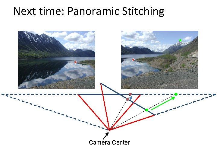 Next time: Panoramic Stitching Camera Center