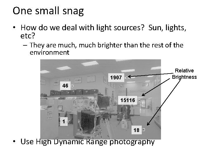 One small snag • How do we deal with light sources? Sun, lights, etc?