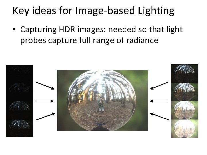 Key ideas for Image-based Lighting • Capturing HDR images: needed so that light probes