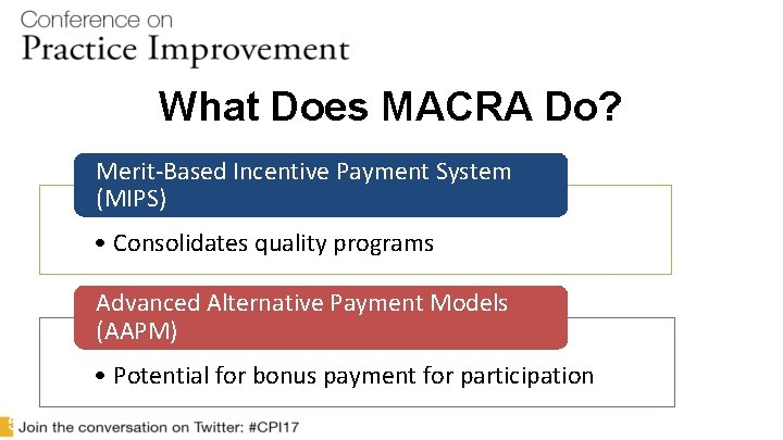 What Does MACRA Do? Merit-Based Incentive Payment System (MIPS) • Consolidates quality programs Advanced