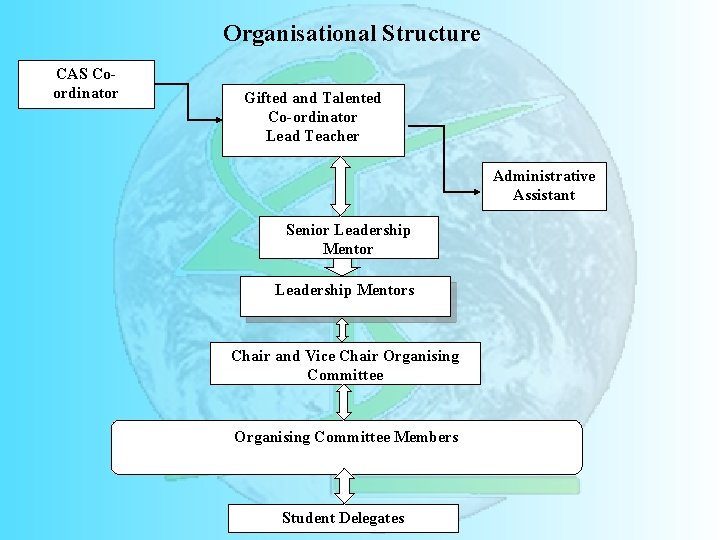 Organisational Structure CAS Coordinator Gifted and Talented Co-ordinator Lead Teacher Administrative Assistant Senior Leadership