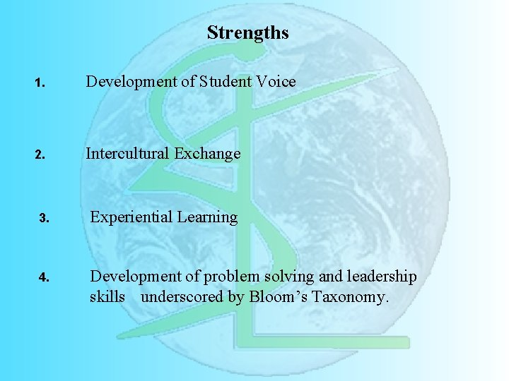 Strengths 1. Development of Student Voice 2. Intercultural Exchange 3. Experiential Learning 4. Development