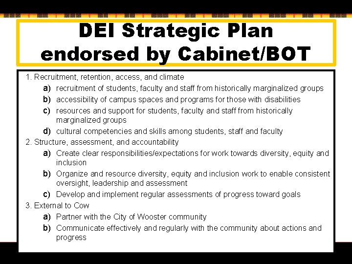 DEI Strategic Plan endorsed by Cabinet/BOT 1. Recruitment, retention, access, and climate a) recruitment