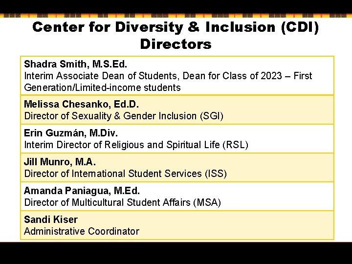Center for Diversity & Inclusion (CDI) Directors Shadra Smith, M. S. Ed. Interim Associate