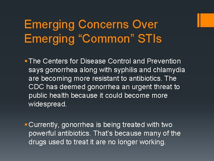 """Emerging Concerns Over Emerging """"Common"""" STIs § The Centers for Disease Control and Prevention"""