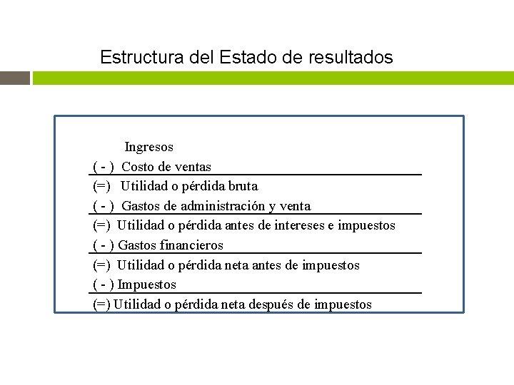 Estructura del Estado de resultados Ingresos ( - ) Costo de ventas (=) Utilidad