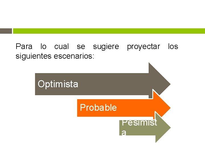 Para lo cual se sugiere proyectar los siguientes escenarios: Optimista Probable Pesimist a