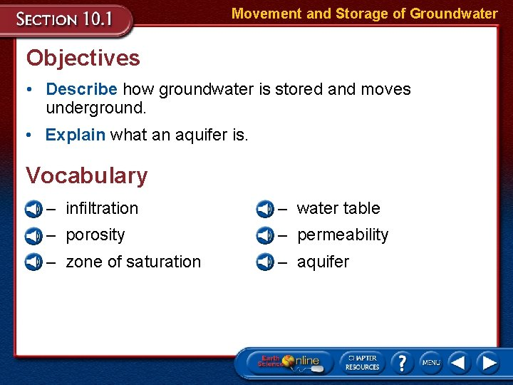 Movement and Storage of Groundwater Objectives • Describe how groundwater is stored and moves