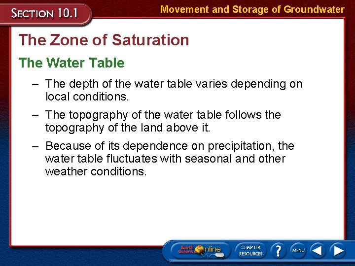 Movement and Storage of Groundwater The Zone of Saturation The Water Table – The