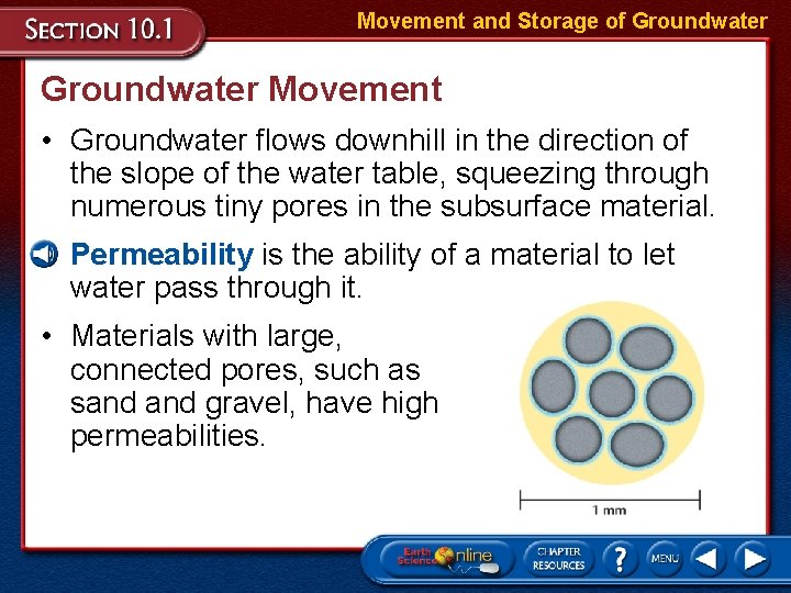 Movement and Storage of Groundwater Movement • Groundwater flows downhill in the direction of