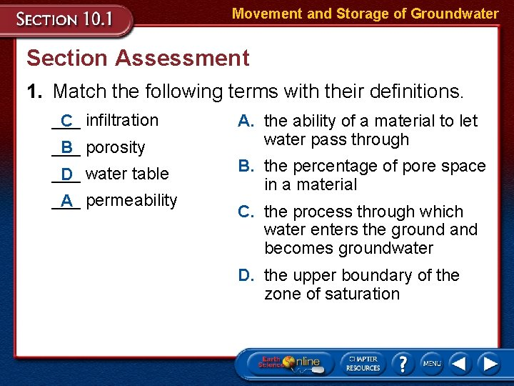 Movement and Storage of Groundwater Section Assessment 1. Match the following terms with their
