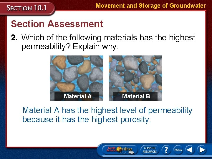 Movement and Storage of Groundwater Section Assessment 2. Which of the following materials has