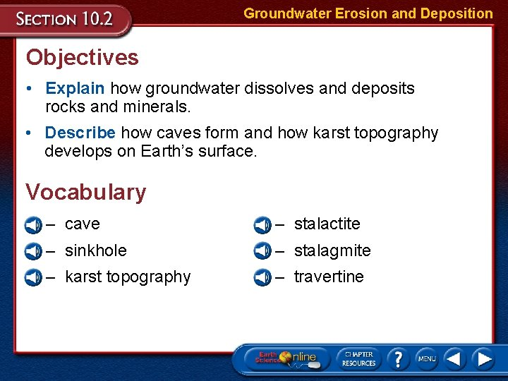 Groundwater Erosion and Deposition Objectives • Explain how groundwater dissolves and deposits rocks and
