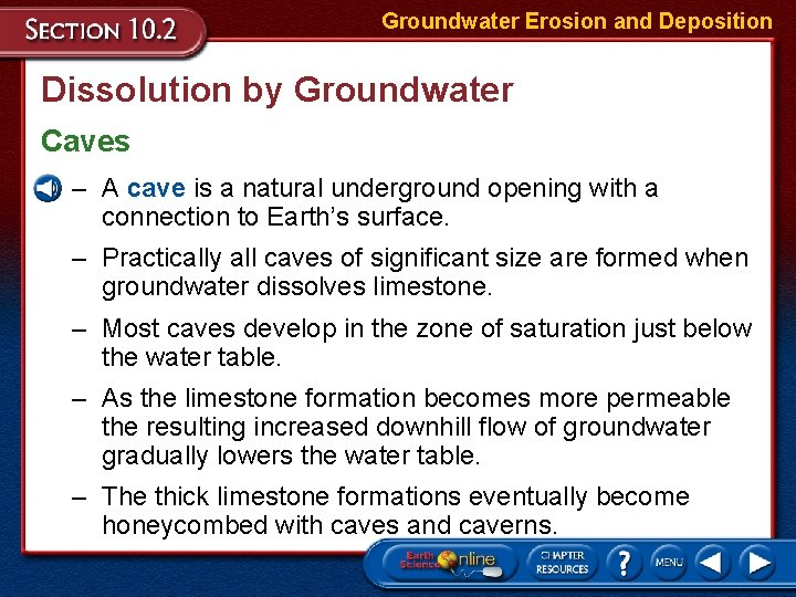 Groundwater Erosion and Deposition Dissolution by Groundwater Caves – A cave is a natural
