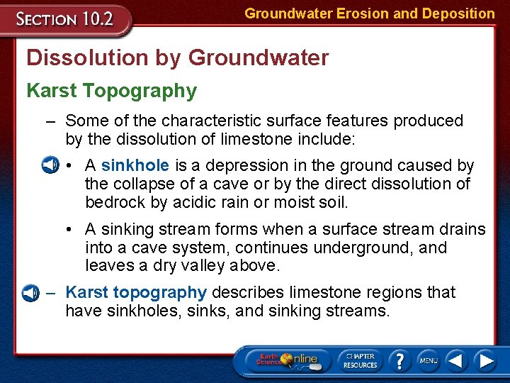 Groundwater Erosion and Deposition Dissolution by Groundwater Karst Topography – Some of the characteristic