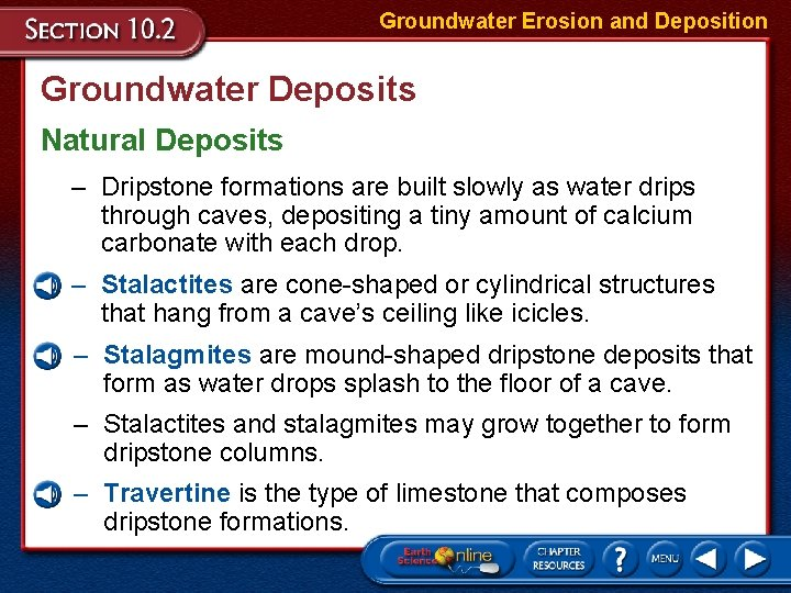 Groundwater Erosion and Deposition Groundwater Deposits Natural Deposits – Dripstone formations are built slowly