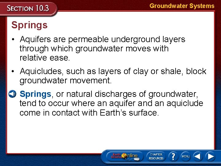Groundwater Systems Springs • Aquifers are permeable underground layers through which groundwater moves with