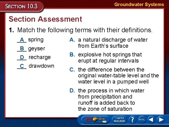 Groundwater Systems Section Assessment 1. Match the following terms with their definitions. ___ A
