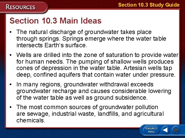 Section 10. 3 Study Guide Section 10. 3 Main Ideas • The natural discharge