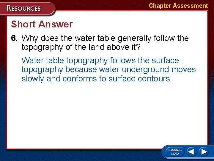 Chapter Assessment Short Answer 6. Why does the water table generally follow the topography