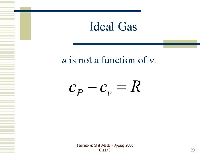 Ideal Gas u is not a function of v. Thermo & Stat Mech -