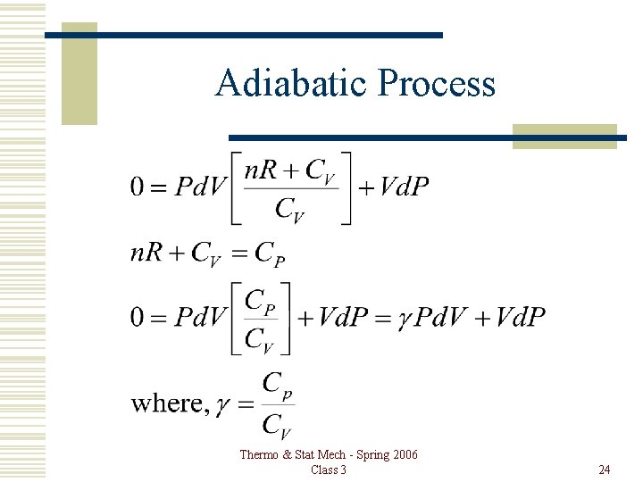 Adiabatic Process Thermo & Stat Mech - Spring 2006 Class 3 24