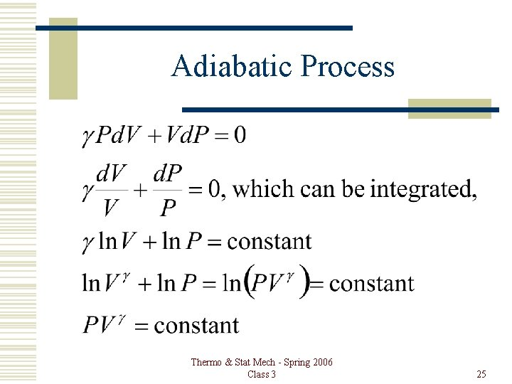 Adiabatic Process Thermo & Stat Mech - Spring 2006 Class 3 25