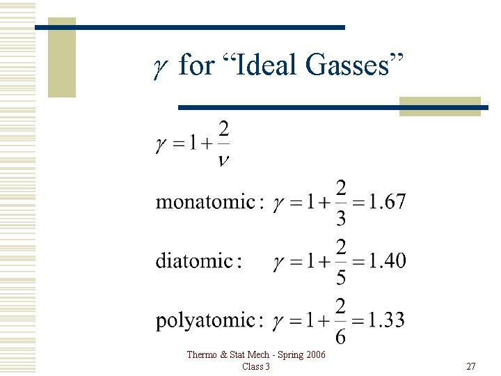 """g for """"Ideal Gasses"""" Thermo & Stat Mech - Spring 2006 Class 3 27"""