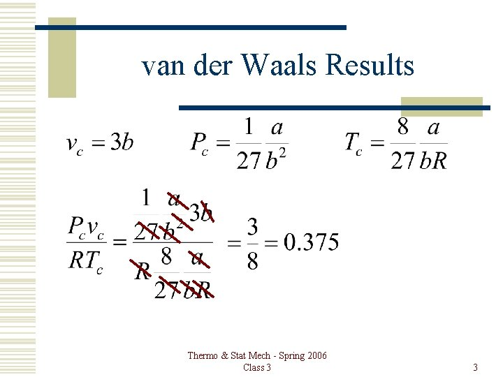 van der Waals Results Thermo & Stat Mech - Spring 2006 Class 3 3