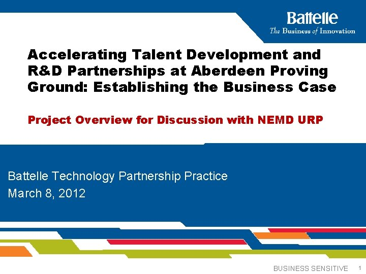 Accelerating Talent Development and R&D Partnerships at Aberdeen Proving Ground: Establishing the Business Case