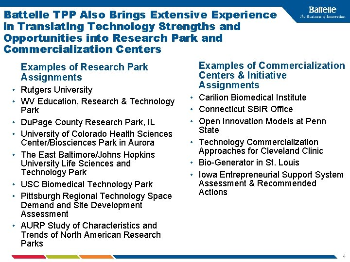 Battelle TPP Also Brings Extensive Experience in Translating Technology Strengths and Opportunities into Research