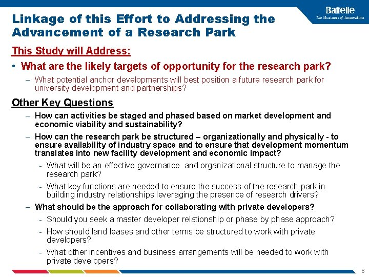 Linkage of this Effort to Addressing the Advancement of a Research Park This Study