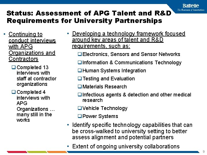 Status: Assessment of APG Talent and R&D Requirements for University Partnerships • Continuing to
